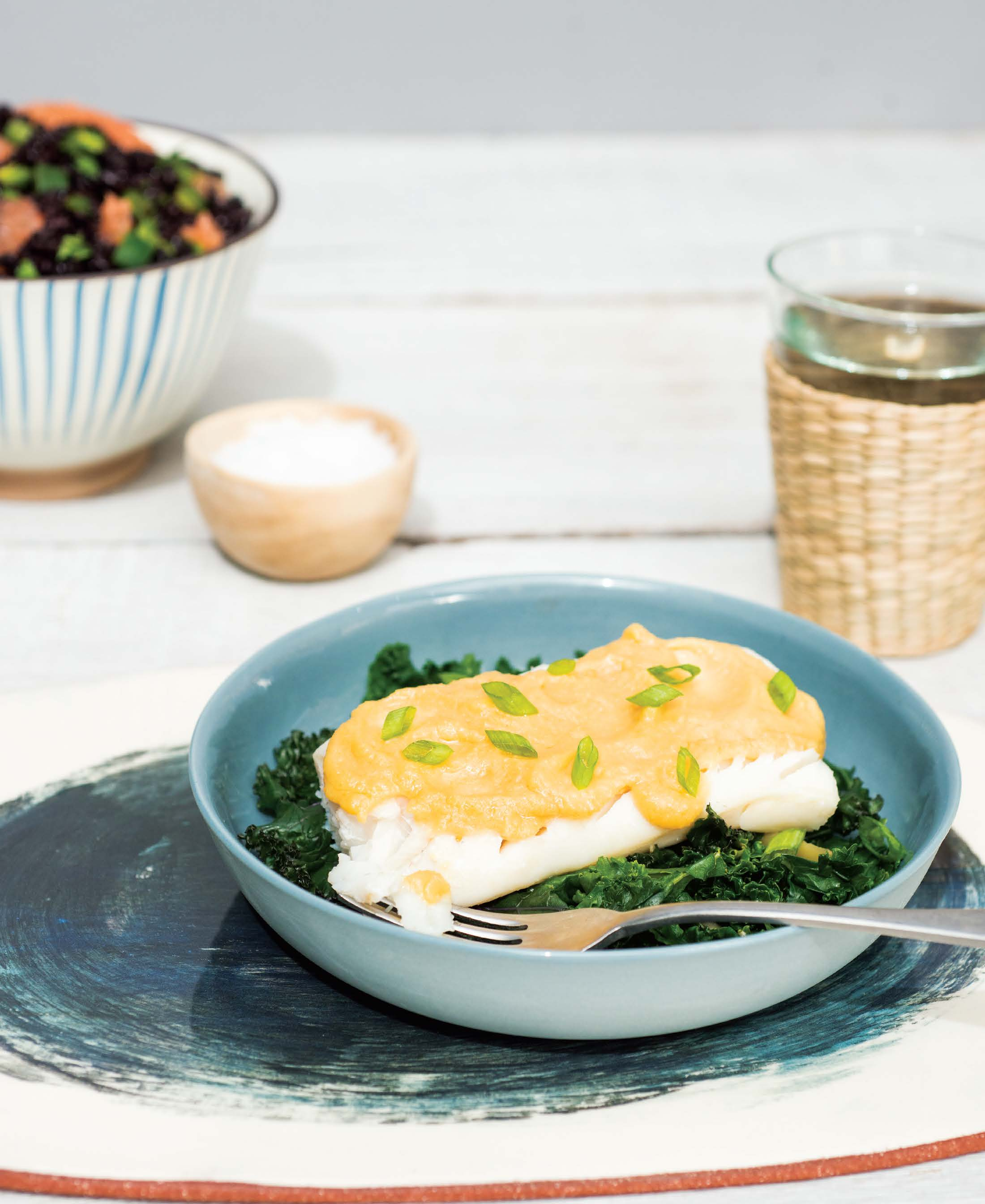 Steamed fish with greens and miso butter recipes for Instant pot fish recipes