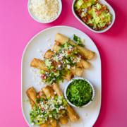 Salsa Verde Shredded Chicken Taquitos
