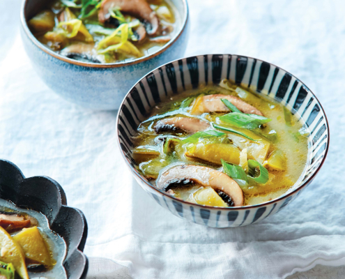 Miso Soup with Shiitakes and Snap Peas