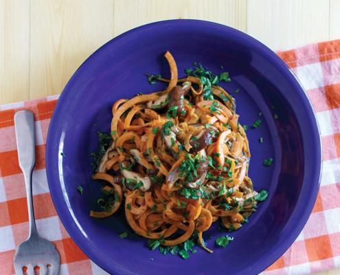 instant pot sweet potato noodles, instant pot asian mushroom noodles