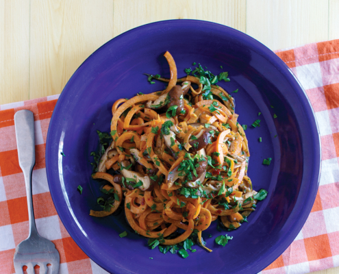 instant pot sweet potato noodles, instant pot asian mushroom noodles