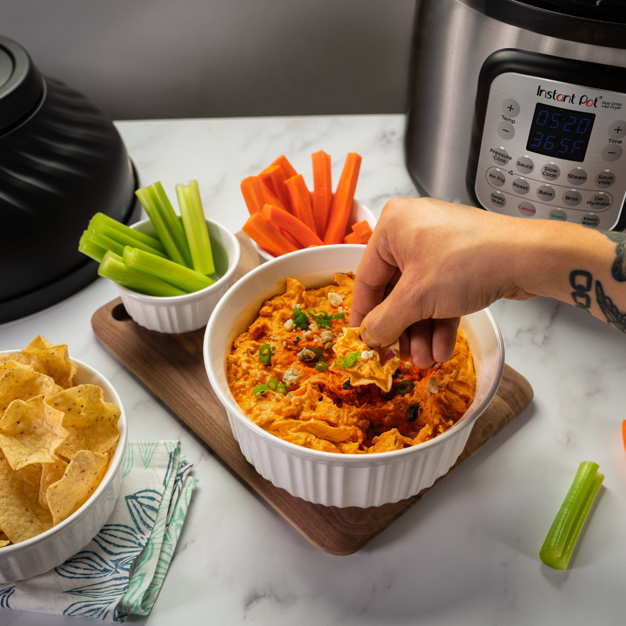 instant pot buffalo chicken dip, instant pot duo crisp recipes