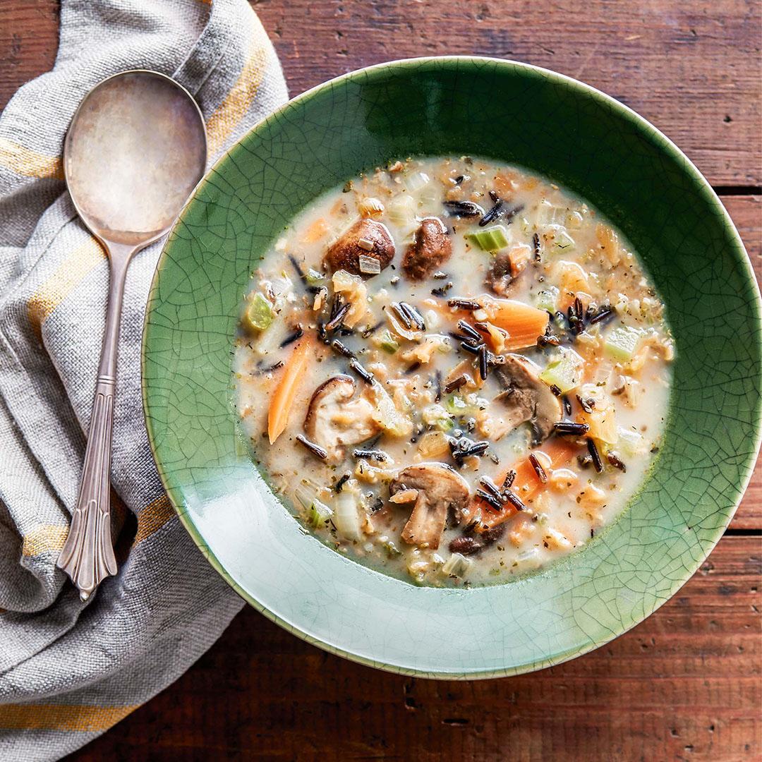 instant pot recipes, pressure cooker soup, wild rice mushroom soup