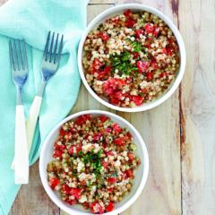 instant pot recipes, minty feta tomato couscous salad, pressure cooker
