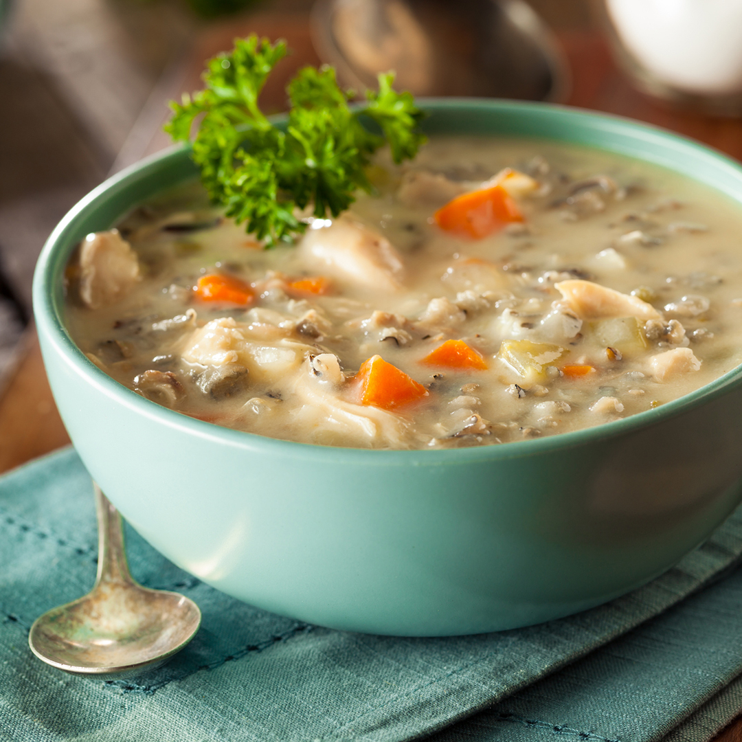 Slow Cooked Chicken, Mushroom and Wild Rice Soup