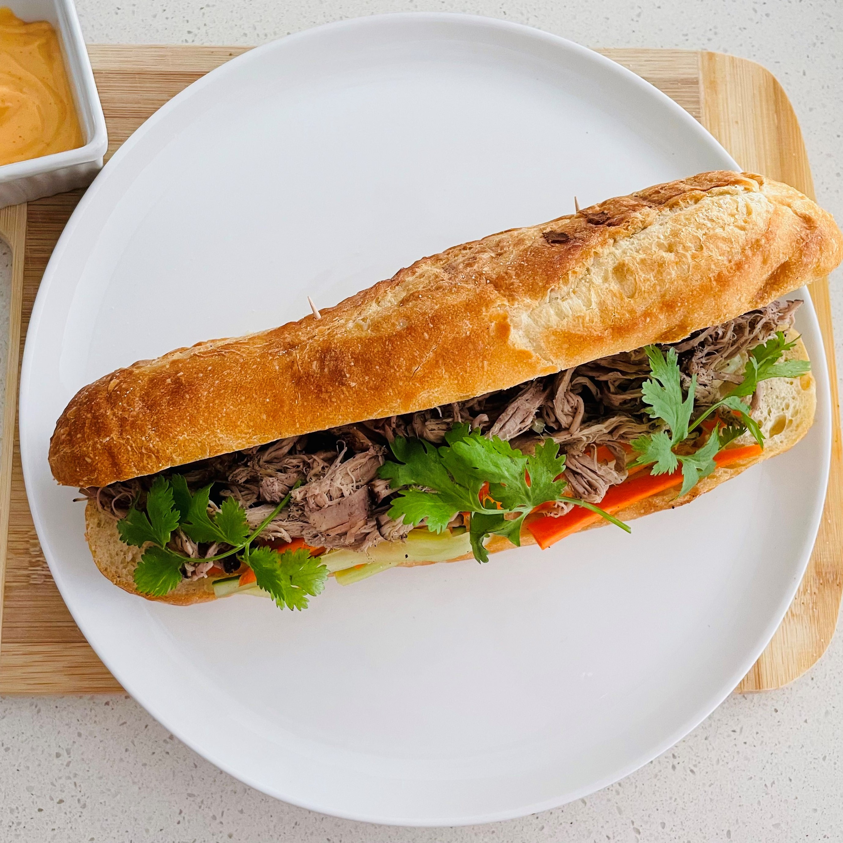 Slow Cooked Vietnamese Pulled Pork Banh Mi